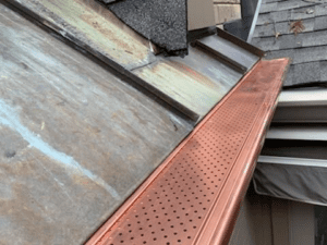 leaf relief on copper gutters